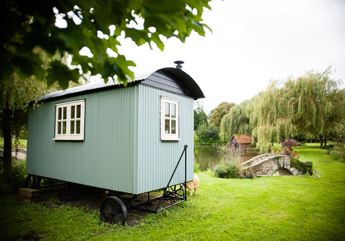 One of our traditional shepherd's huts in Thelwell's garden