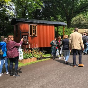 The Plankbridge shepherd's hut in a copper finish at the 2018 RHS Chelsea flower show