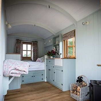 Plankbridge traditional shepherd's hut with dresser and bed