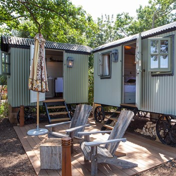 Plankbridge bedroom and bathroom huts at The Pig on The Beach Studland